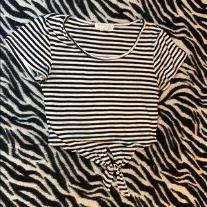 White and Black Stripe Crop Top Tie Bottom